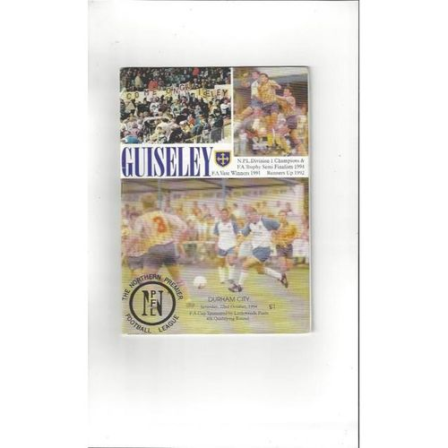 1994/95 Guiseley v Durham City FA Cup Football Programme
