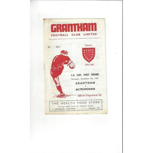 1967/68 Grantham v Altrincham FA Cup Football Programme