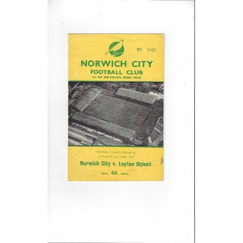1961/62 Norwich City v Leyton Orient Football Programme
