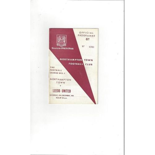 1965/66 Northampton Town v Leeds United Football Programme