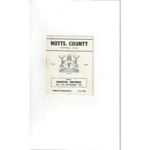 1962/63 Notts County v Bristol Rovers Football Programme