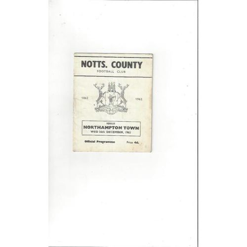 1962/63 Notts County v Northampton Town Football Programme
