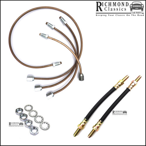 Rear Subframe Cupro Nickel / Rubber Flexis, Classic Mini Brake Pipe Kit