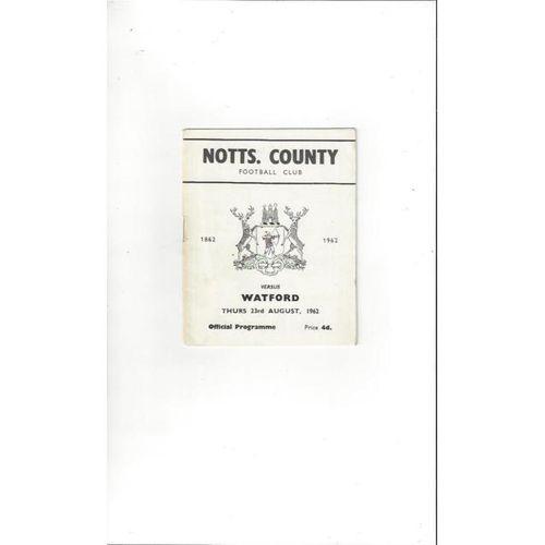 1962/63 Notts County v Watford Football Programme