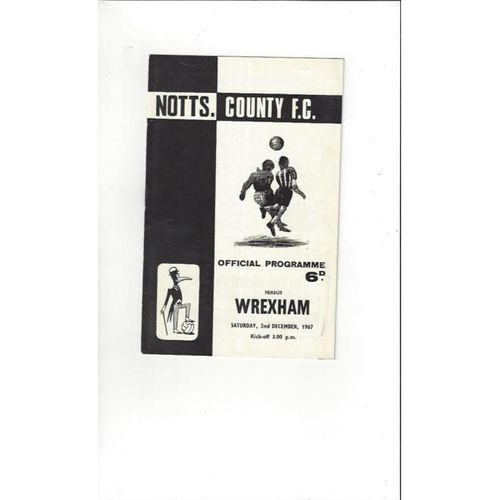 1967/68 Notts County v Wrexham Football Programme