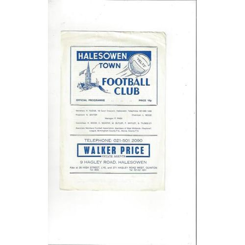 Halesowen Town v Boldmere St Michaels FA Cup Football Programme 1984/85