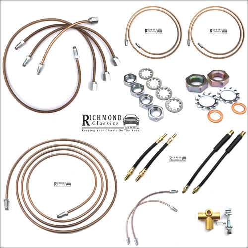 Cupro Nickel Brake Pipe Kit with Flexible Hoses - Green Tag Master Classic Mini
