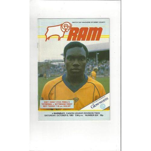 1983/84 Derby County v Barnsley Football Programme