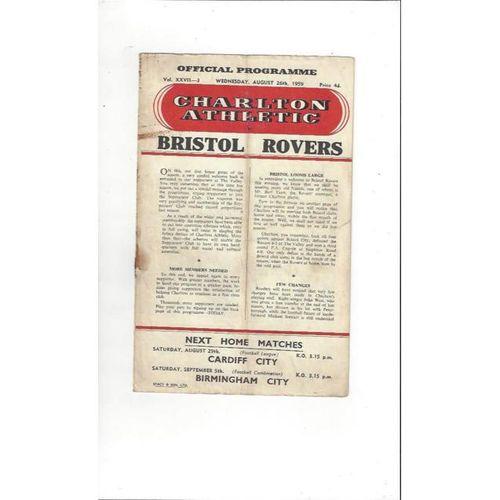 1959/60 Charlton Athletic v Bristol Rovers Football Programme