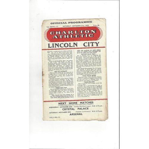 1959/60 Charlton Athletic v Lincoln City Football Programme