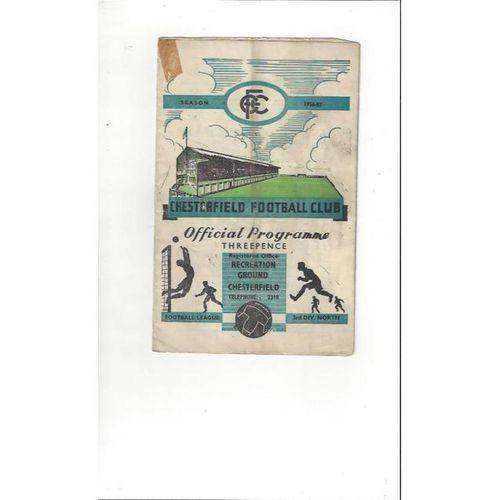 1956/57 Chesterfield v Derby County Football Programme
