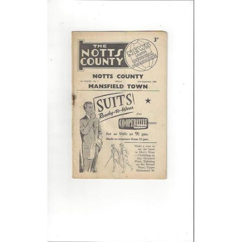 1958/59 Notts County v Mansfield Town Football Programme