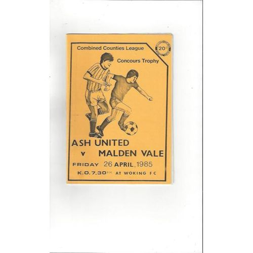 Ash United v Malden Vale Concours Trophy Final 1984/85 Programme @ Woking