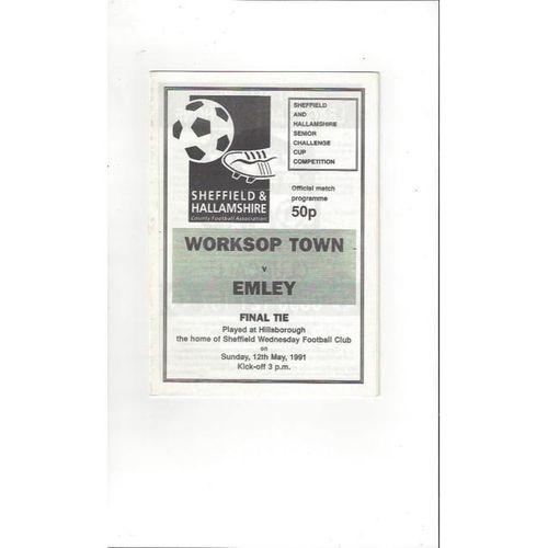 1990/91 Worksop Town v Emley Sheffield Snr Cup Final Football Programme @ Hillsborough