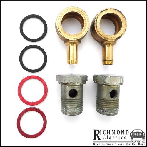 Single Brass Inlet / Outlet with Banjos - SU Carburetters - AUC8398D, AUC2698