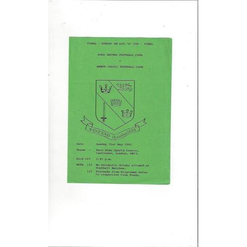 1991/92 Kobs United v Manor Celtic Sunday Division A Cup Final Football Programme