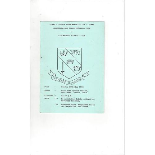 1991/92 Hallfield All Stars v Clockhouse Arthur Dann Memorial Cup Final Football Programme