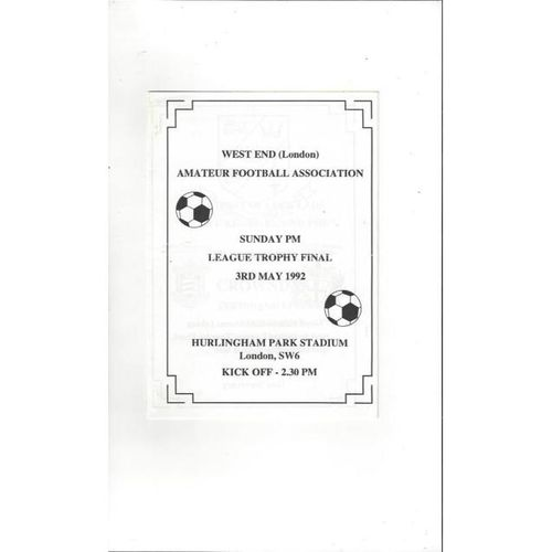 1991/92 Kentish Town Royal v Tech Sunday League Trophy Final Football Programme