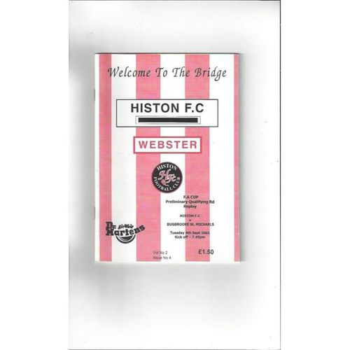 2001/02 Histon v Bugbrooke St Michaels FA Cup Football Programme
