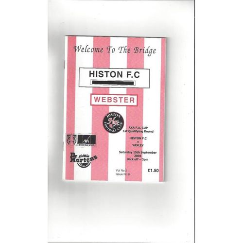2001/02 Histon v Yaxley FA Cup Football Programme