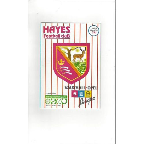 1987/88 Hayes v Fisher Athletic FA Cup Football Programme