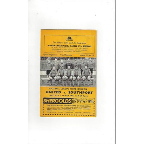 1967/68 Oxford United v Southport Football Programme
