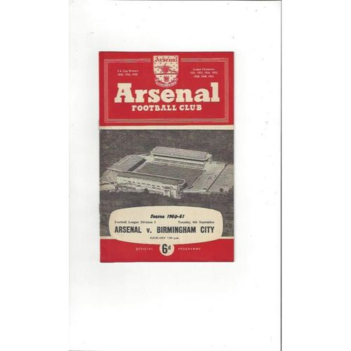 1960/61 Arsenal v Birmingham City Football Programme