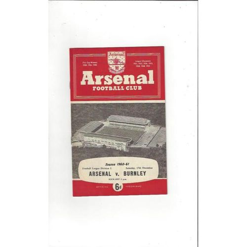 1960/61 Arsenal v Burnley Football Programme