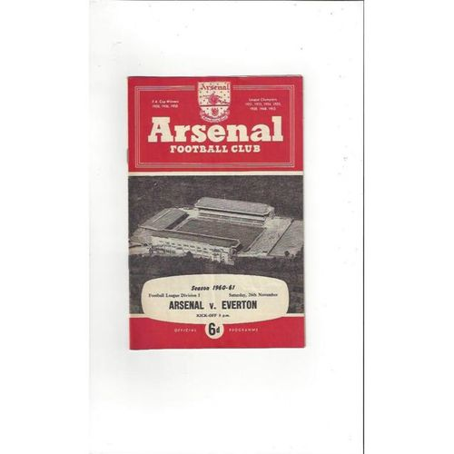 1960/61 Arsenal v Everton Football Programme