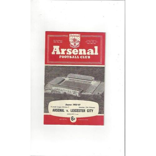 1960/61 Arsenal v Leicester City Football Programme
