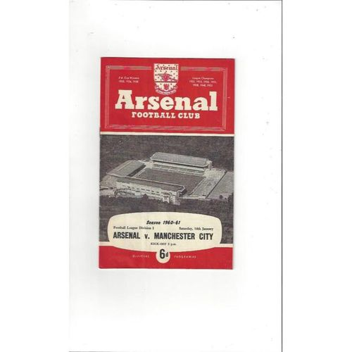 1960/61 Arsenal v Manchester City Football Programme