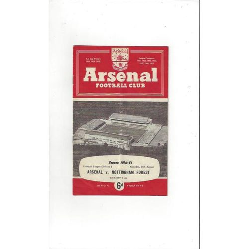 1960/61 Arsenal v Nottingham Forest Football Programme