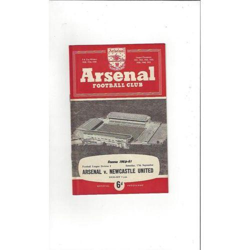 1960/61 Arsenal v Newcastle United Football Programme