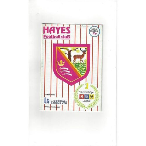 1988/89 Hayes v Redditch United FA Cup Football Programme