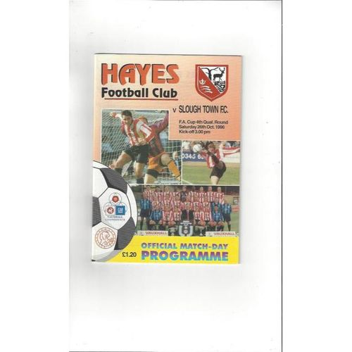 1996/97 Hayes v Slough Town FA Cup Football Programme