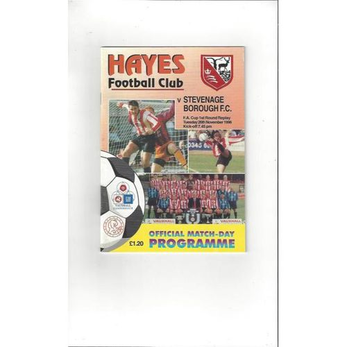 1996/97 Hayes v Stevenage Borough FA Cup Replay Football Programme