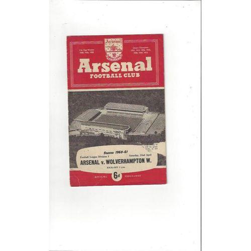 1960/61 Arsenal v Wolves Football Programme
