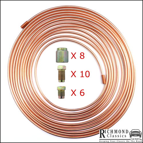 "1 Roll of Copper Brake Pipe 25ft 3/16"" with Metric Fittings"
