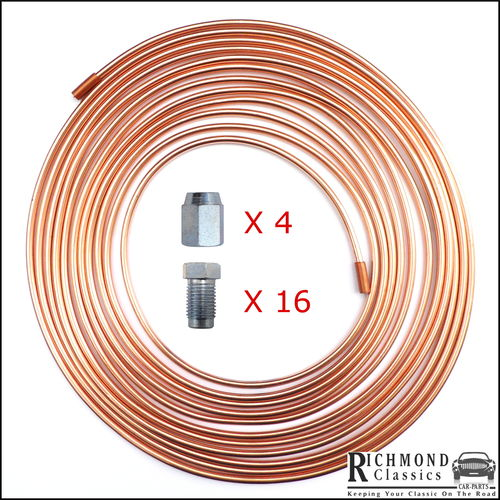 "Early Mini - 1 Roll of Copper Brake Pipe 25ft 3/16"" with Fittings"