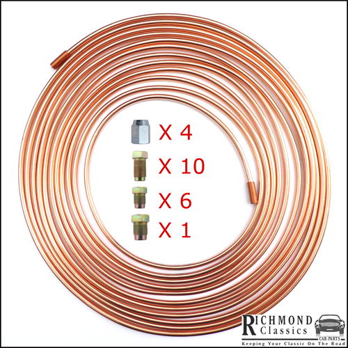 "Later Mini with PDWA Valve - 1 Roll of Copper Brake Pipe 25ft 3/16"" with Fittings"
