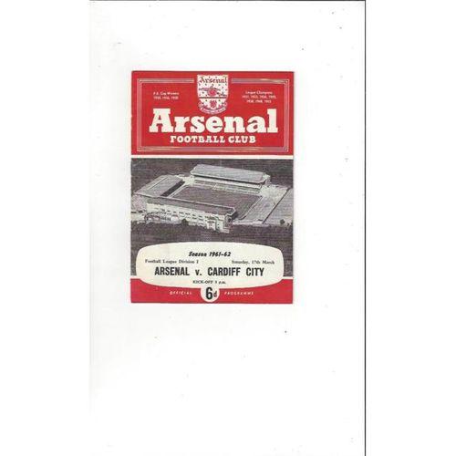 1961/62 Arsenal v Cardiff City Football Programme