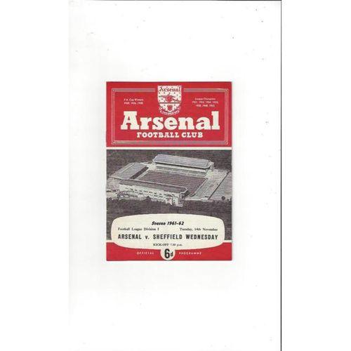 1961/62 Arsenal v Sheffield Wednesday Football Programme