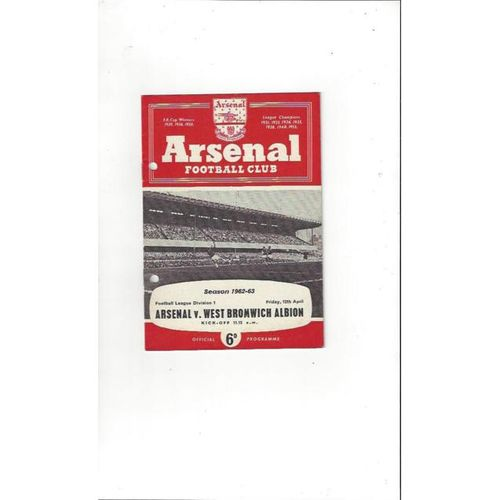 Arsenal v West Bromwich Albion 1962/63