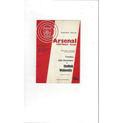 Arsenal v Sheffield Wednesday 1965/66