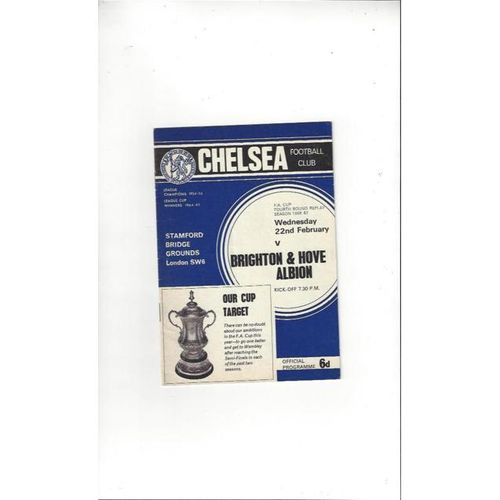 1966/67 Chelsea v Brighton FA Cup Replay Football Programme