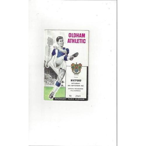 1963/64 Oldham Athletic v Watford Football Programme