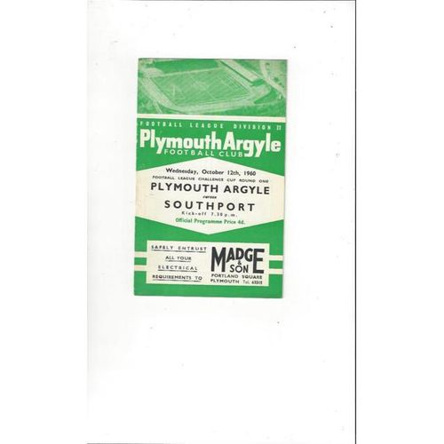 1960/61 Plymouth Argyle v Southport League Cup Football Programme