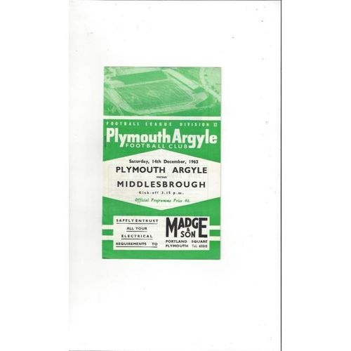 1963/64 Plymouth Argyle v Middlesbrough Football Programme