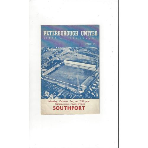 1960/61 Peterborough United v Southport Football Programme