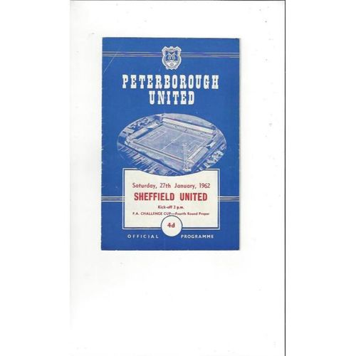 1961/62 Peterborough United v Sheffield United FA Cup Football Programme